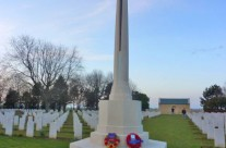Cross of Sacrifice at Beny-sur-Mer Canadian War Cemetery after wreath laying ceremony – Normandy and D-Day Landings Tour