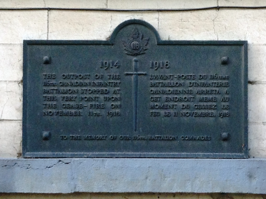 02 Plaque to the 116th Canadian Infantry Battalion at their advanced outpost upon the cease-fire on 11.11.18