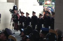 The buglers and piper at the Last Post Ceremony at the Menin Gate – 2013 Armistice Day in Ypres and Battlefield Tour
