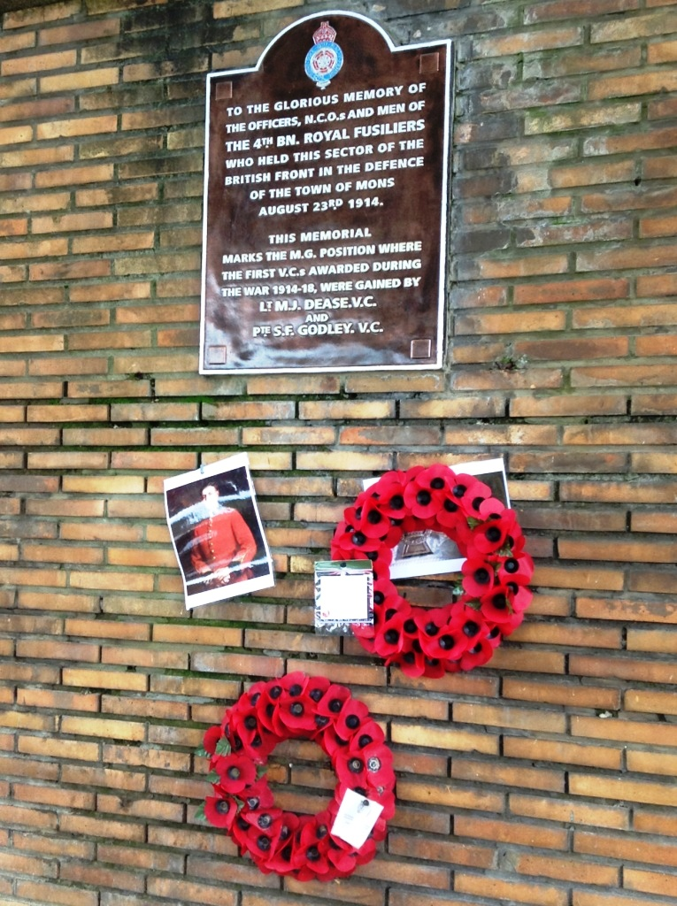 04 Plaque beneath Nimy Bridge marks the position where the first VCs awarded during WWI were gained by Dease and Godley