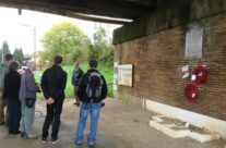 The tour group beneath Nimy Bridge – Mons and Ypres Battlefield Tour