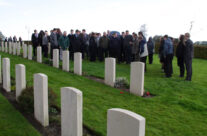 At the grave of Richard Lancaster, Prowes Point Cemetery – Somme and Ypres Battlefield Tour