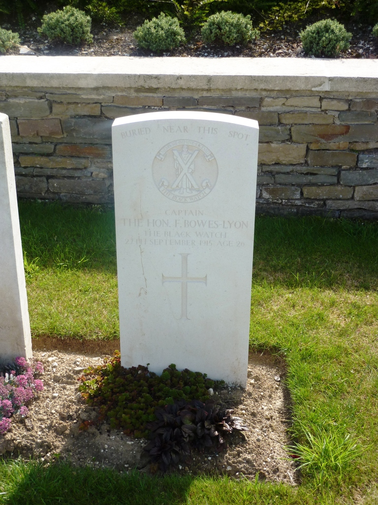 11 The Hon F Bowes Lyon's grave, now discovered, Quarry Cemetery, Vermelles Loos