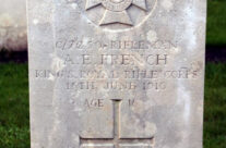Grave of Rifleman Albert French who died age 16, Hyde Park Cemetery – Somme and Ypres Battlefield Tour