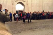Tony, Kevin and Paula taking part in the Last Post Ceremony at the Menin Gate – Mons and Ypres Battlefield Tour