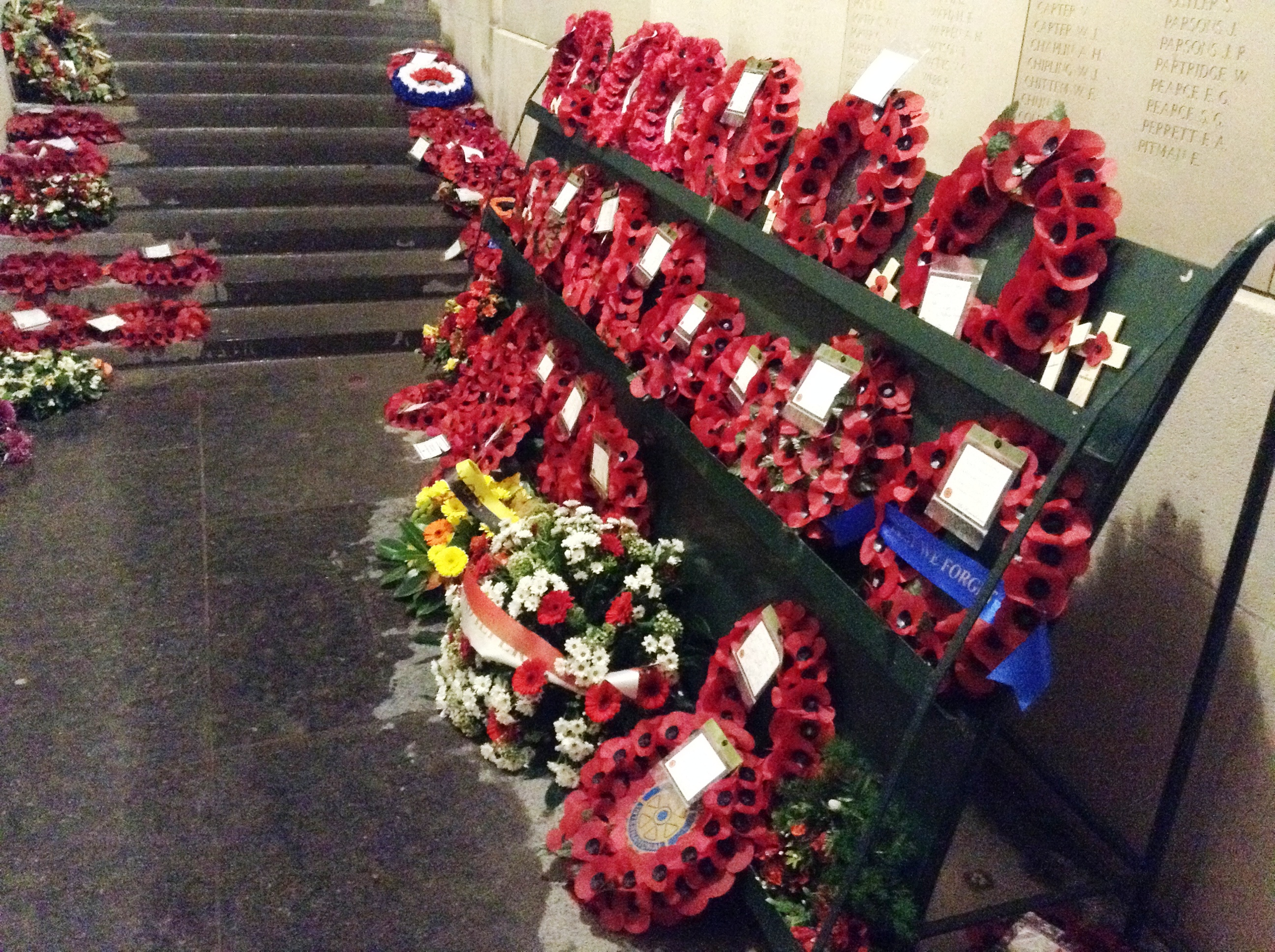 23 The poppy wreaths after the Last Post Ceremony, Menin Gate