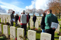 Tour party at Caterpillar Valley Cemetery – Somme and Ypres Battlefield Tour