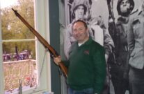 Tony Eden of Rifleman Tours at a window in the Hartenstein Hotel Airborne Museum – Arnhem Battlefield Tour