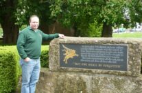 Tony Eden of Rifleman Tours at the Memorial at Lonsdale Church – Arnhem Battlefield Tour