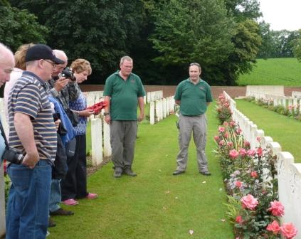 9 Rob and Liz wait as Tony gives the exhultation at relatives grave