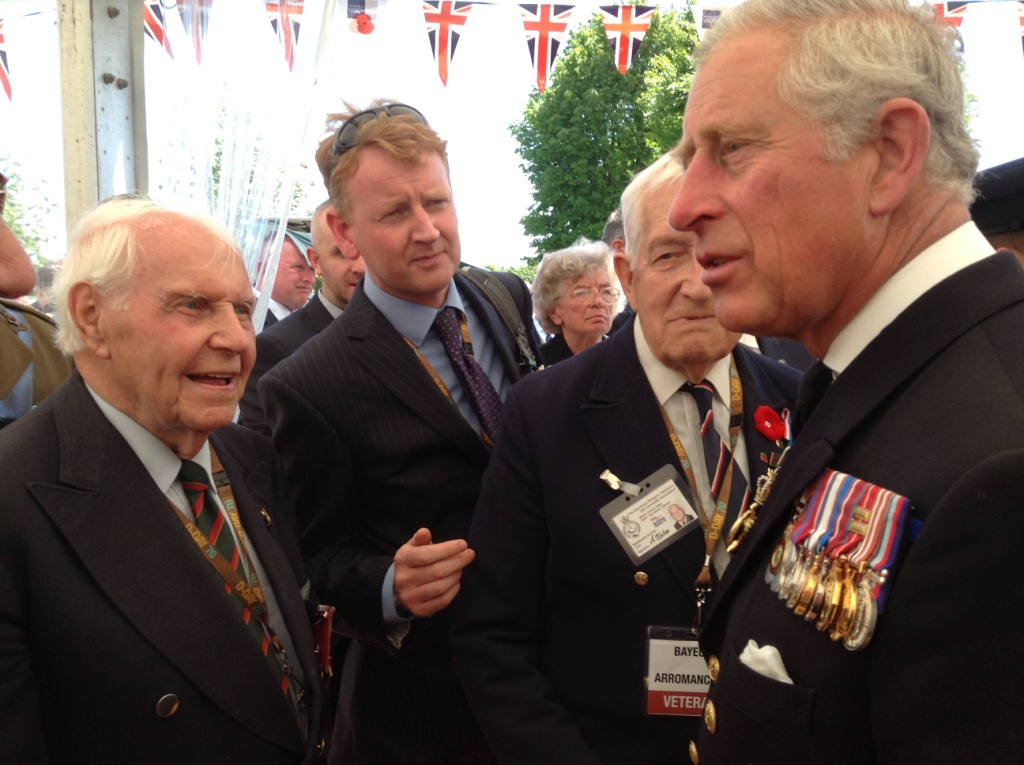 09 Our Normandy veteran Bill Betts meets Prince Charles at Bayeux Cemetery