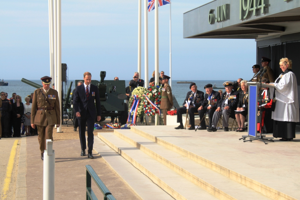 14 Prince Williams lays his wreath at the Ceremony at Arromanches