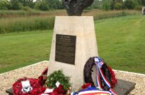 Bust of Major John Howard looks towards Pegasus Bridge – Normandy & D-Day Landings 70th Anniversary Ceremony & Battlefield Tour