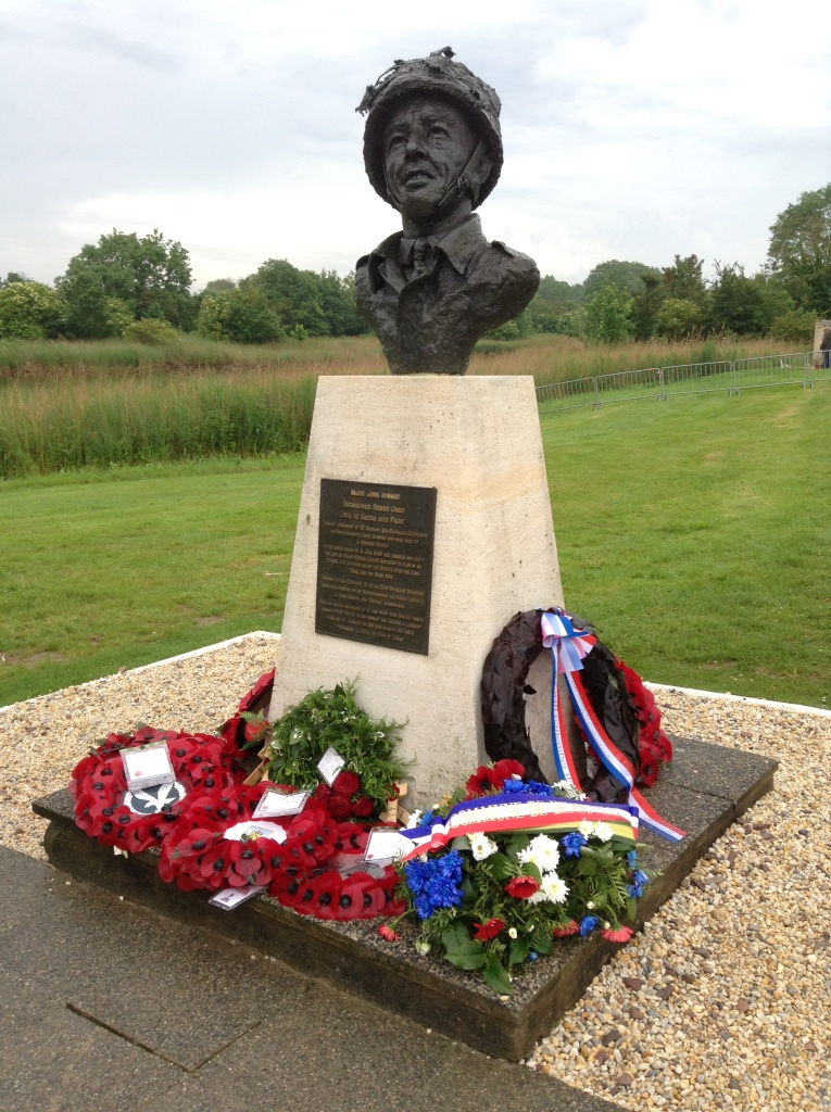 Bust of Major John Howard looks towards Pegasus Bridge