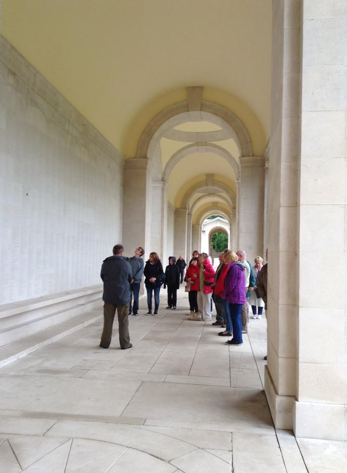 21 The Group pay their respects to Fran's Great Grandad at the Arras Memorial