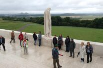 Our group at a rather rainy Vimy Ridge Memorial – Somme Battlefield Tour
