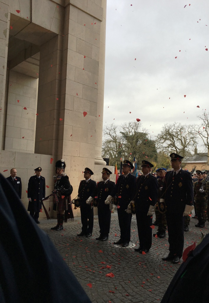 05 The poppy petals fall during the Remembrance Ceremony at the Menin Gate
