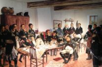 Painting of breakfast at Le Caillou on the morning of the battle – Waterloo Battlefield Tour