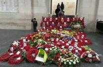 The wreaths under the Menin Gate, Ypres after the Armistice Remembrance Ceremony- Armistice Remembrance Tour