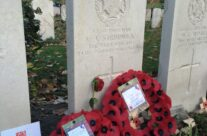 At Essex Farm, the grave of Rifleman Valentine Joe Strudwick, aged 15 when he died in 1916. One of the youngest to die in action and one of the most visited graves on the Western Front – Armistice Remembrance Tour