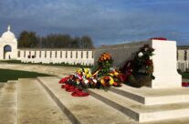 Tyne Cot, the largest Commonwealth military cemetery in the world, wreaths at the Stone of Remembrance – Armistice Remembrance Tour