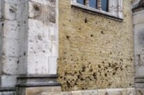 Battle scarred wall of Saint Eloi Church – Dunkirk Operation Dynamo Battlefield Tour
