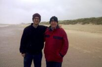 Tim and his son at Bray Dunes beach where his father was evacuated – Dunkirk Operation Dynamo Battlefield Tour