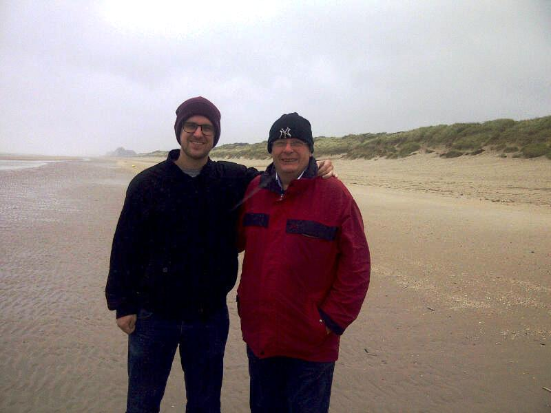29 Tim and his son at Bray Dunes beach where his father was evacuated