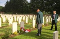 Another group joined us for the exhultation and instead of a wreath we put a football on his grave – 100th Anniversary of the Somme Battlefield Tour