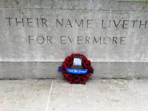 05 Our wreath at the Stone of Remembrance at Carnoy Military Cemetery