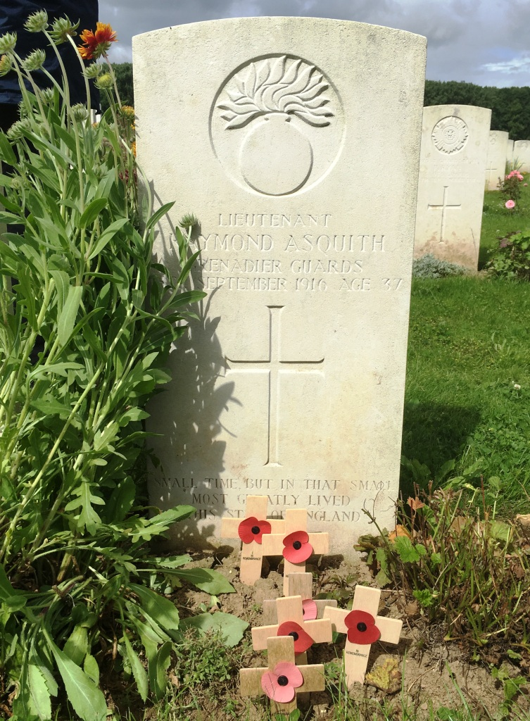19 Grave of Raymond Asquith, son of British Prime Minister H H Asquith (1908-1916), Guillemont Road Cemetery