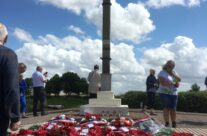 The wreaths at Lochnagar Crater – 100th Anniversary of the Somme Battlefield Tour