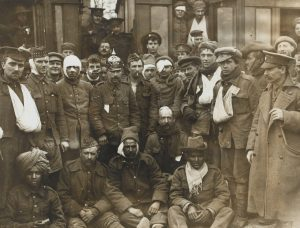 British and Indian wounded at Neuve Chapelle, 1915.
