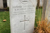 Second Lieutenant Raymond Lodge at Birr Cross Cemetery, Ypres Salient – 2016 Armistice Day in Ypres and Battlefield Tour