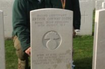 Arthur Conway Young's headstone engraved with 'Sacrificed to the fallacy that war can end war' – Somme and Ypres Battlefield Tour