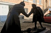 The Christmas Truce Memorial outside the Messines Visitor Centre – Messines Discovery Battlefield Tour