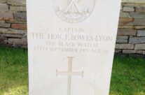 Headstone of Captain Fergus Bowes-Lyon, Quarry Cemetery, an older brother of the late Queen Mother – Arras 100 Anniversary Battlefield Tour
