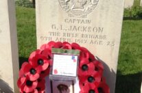 Family remember Captain G L Jackson at Highland Cemetery who died 100 years to the day of the visit – Arras 100 Anniversary Battlefield Tour