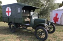 WW1 British Field Ambulance on display in the grounds of the Passchendaele Museum – Passchendaele Anniversary Remembrance Battlefield Tour