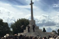 Buglers play The Last Post at the Cross of Sacrifice at the Tyne Cot Passchendaele 100th Anniversary Remembrance Service – Passchendaele Anniversary Remembrance Battlefield Tour
