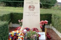 At the memorial to the Liverpool and Manchester Pals, Somme and Ypres Battlefield Tour