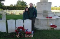 Tony and Olivia at the grave of double VC winner Noel Chavasse at Brandhoek New Military Cemetery, Somme and Ypres Battlefield Tour