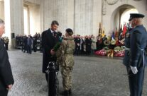 Princess Anne's husband Timothy Lawrence taking part in the Remembrance Ceremony at the Menin Gate – Armistice in Ypres and Passchendaele 100 Anniversary Battlefield Tour