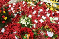 The wreaths after the Remembrance Ceremony at the Menin Gate – Armistice in Ypres and Passchendaele 100 Anniversary Battlefield Tour