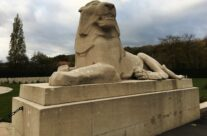 One of the lions at the Plugstreet Memorial to the Missing – Armistice in Ypres and Passchendaele 100 Anniversary Battlefield Tour