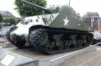 Sherman Tank on McAuliffe Square, Bastogne – Easy Company Private Battlefield Tour