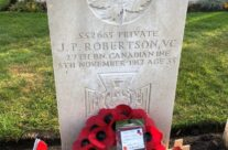 A wreath from the Gt Gt nephew of Canadian VC winner J P Robertson at Tyne Cot Cemetery – 2018 Armistice Remembrance Day in Ypres