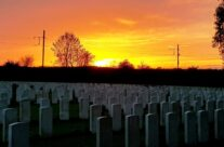 Sunset at Railway Dugouts Burial Ground (Transport Farm) Cemetery – 2018 Armistice Remembrance Day in Ypres