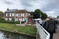 Crossing Pegasus Bridge to get to Cafe Gondree – Normandy and D-Day Landings 75th Anniversary Tour