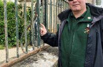 WW2 bullet damage to railings in St Mère Eglise – Normandy and D-Day Landings 75th Anniversary Tour